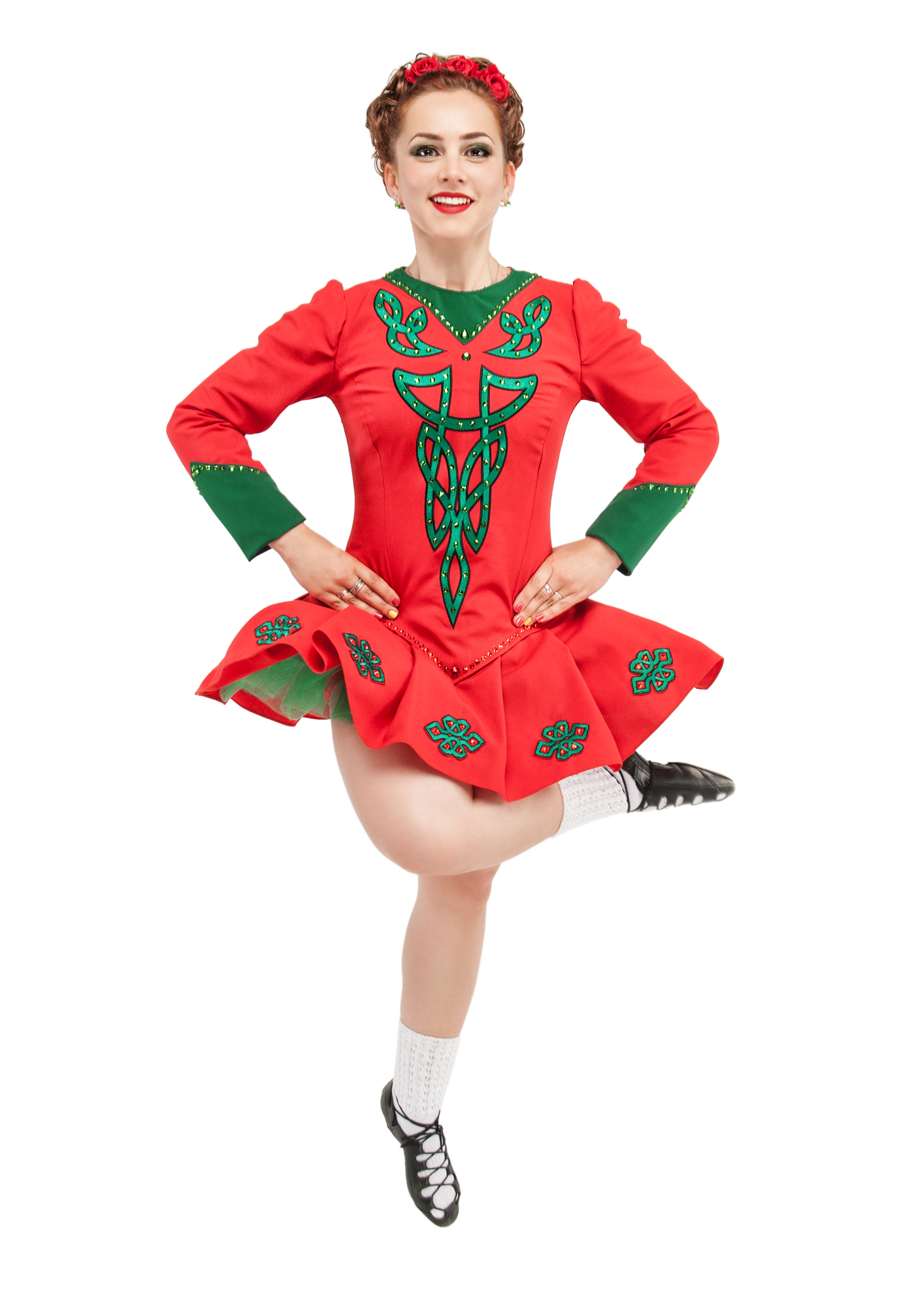 Happy female Irish dancer in red and green costume