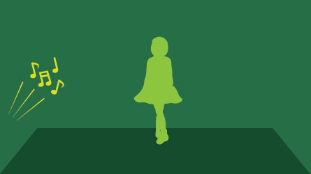 Silhouette illustration of dancer standing in a studio with music notes indicating loud music.