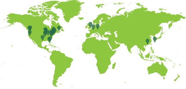 World Map showing markers at each location dancers have participated from across the globe.