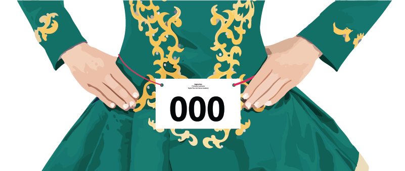 Illustration of Solo Dancer's Waist with Number Card