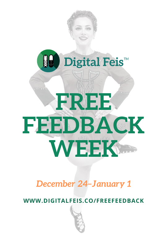 Irish dancer doing a cut with the words Free Feedback Week on top