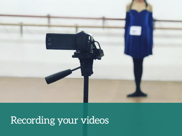 Recording your video — with photograph of Artz Collective dancer in background, camera on tripod in foreground
